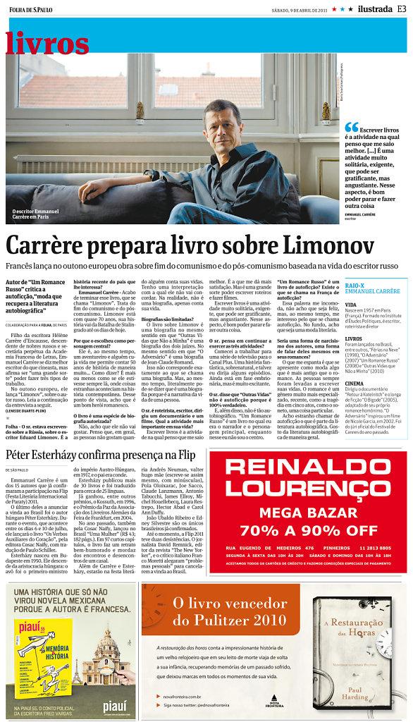 Emmanuel Carrère, Folha de Sao Paulo, 2011